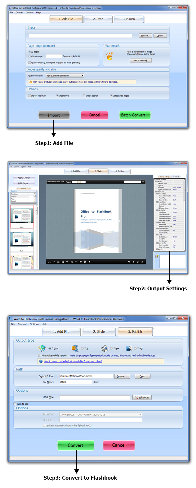 Office to FlashBook Professional Screenshot